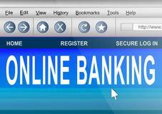 Online banking. Illustration depicting computer screen shot of an internet browser with an online banking concept Royalty Free Stock Images