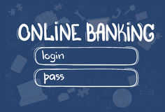 Online Banking Application Interface Concept Doodle Hand Draw Sketch Background Stock Photography