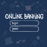 Online Banking Application Interface Concept Doodle Hand Draw Sketch Background Royalty Free Stock Photos