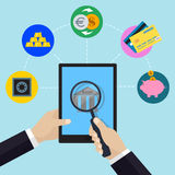 Online banking and bank service concept with hand holding tablet and magnifier. Financial and bank icons in flat style. Vector illustration Royalty Free Stock Image