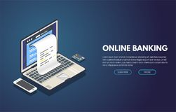Online banking banner. Online banking computer web app. Isometric laptop with paper document printing from screen and phone with credit card. Online payment and Stock Photography
