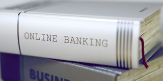 Online Banking - Business Book Title. 3d. Stock Photos