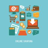 Online banking and business. Vector concept in flat style - online banking and business - icons and signs. Internet shopping and ecommerce Royalty Free Stock Photo
