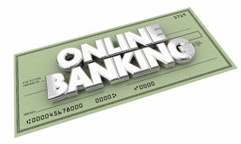 Online Banking Check Money Savings Words. 3d Illustration Stock Image