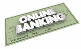 Online Banking Check Money Savings Words Stock Image
