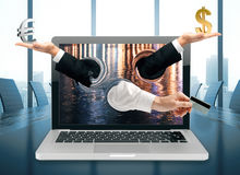 Online banking concept. Abstract hands with dollar, euro sings and credit card coming out of laptop screen placed on conference table. Online banking concept. 3D Stock Images