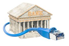Online Banking concept, bank building with land cable. 3D render. Ing isolated on white background Royalty Free Stock Photography