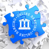Online Banking Concept on Blue Puzzle. Stock Photos