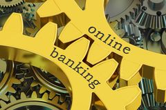 Online Banking concept on the gears. 3D rendering Stock Images