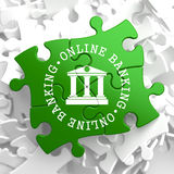 Online Banking Concept on Green Puzzle Pieces. Royalty Free Stock Photos