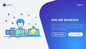 Online banking: man using online wallet on laptop royalty free illustration