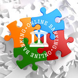 Online Banking Concept on Multicolor Puzzle. Stock Image