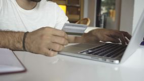 Online banking with credit card. Online banking with laptop and credit card stock video footage