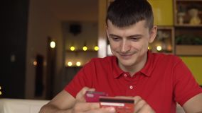 Online banking with credit card. stock video footage