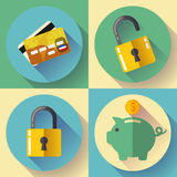 Online banking, Deposit and security Vector icons. Flat design style. Royalty Free Stock Photo