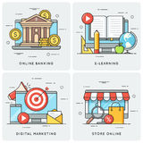 Online banking. E-learning. Digital marketing. Store online. Vec Royalty Free Stock Photography