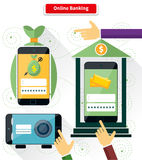 Online Banking Flat Style Design. Pay and transaction, internet finance, digital bank, security and protection, connection shopping, money and mobile, safety Stock Photos