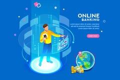 Online Banking Futuristic Concept Virtual Augmented Reality. Vr, virtual augmented reality and futuristic banking concept with characters. Gadget of the future vector illustration
