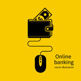 Online banking icon. Web account. Virtual money. Concept of management online wallet, computer mouse connected to wallet. Flat design vector illustration Stock Photos