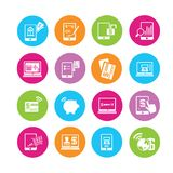Online banking icons. In colorful round buttons Royalty Free Stock Image