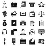 Online banking icons set, simple style. Online banking icons set. Simple set of 25 online banking vector icons for web isolated on white background Royalty Free Stock Image