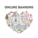 Online banking illustration. Online banking illustration concept. Signs and icons on white sbackground Stock Image