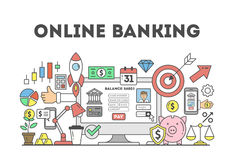 Online banking illustration. Online banking illustration concept. Signs and icons on white sbackground Royalty Free Stock Image