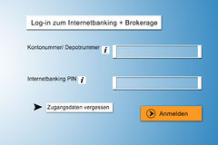 Online Banking. Illustration of a german online banking account vector illustration