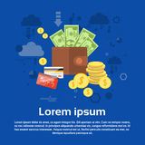 Online Banking Internet Electronic Payment Money Credit Card Wallet Business Web Banner. Flat Vector Illustration Royalty Free Stock Photo