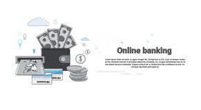Online Banking Internet Electronic Payment Money Credit Card Wallet. Vector Illustration Royalty Free Stock Photography
