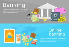 Online Banking Internet Electronic Payment Web. Banner Set Flat Vector Illustration Royalty Free Stock Image