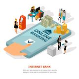Online Banking Isometric Banner. Online banking service isometric advertisement poster with cash on smartphone screen financial adviser safety symbols vector Stock Photo