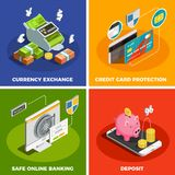 Online Banking 4 Isometric Icons. Safe online banking 4 isometric icons square with deposit credit card protection currency exchange isolated vector illustration Stock Photos