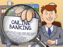 Online Banking through Lens. Doodle Style. Royalty Free Stock Photography