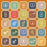 Online banking line flat icons on orange background Stock Images