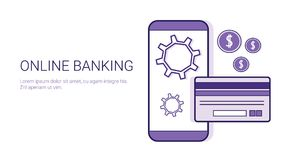 Online Banking Mobile Payment Business Concept Template Web Banner With Copy Space. Vector Illustration Stock Photography