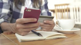 Online banking with mobile phone stock video