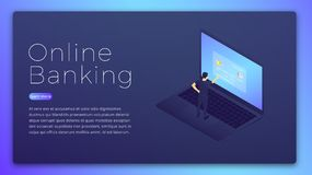 Online banking. Online bank app isometric concept. Online banking hero image design.  Royalty Free Stock Photography
