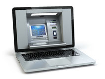 Online banking and payment concept. Laptop as ATM  machine isola Stock Photography