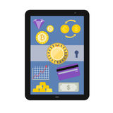 Online Banking service interface and e-commerce fi. Nancial tools icons showing on tablet pc screen flat design illustration in vector Stock Photography