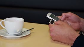 Online banking with smart phone stock video footage