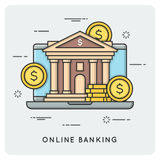 Online banking. Thin line concept. Vector illustration Stock Photos