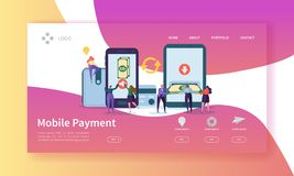 Online-Bankings-Landungsseite Bewegliche Zahlungs-Fahne mit den flachen Leute-Charakteren, die Zahlungen unter Verwendung Smartph vektor abbildung