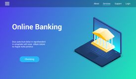 Online bankowość lp szablon ilustracji