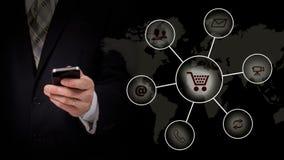 Online bankowości sieci komunikacyjnej technologii cyfrowej płatniczego interneta podaniowego rozwoju smartphone bezprzewodowi mo Zdjęcie Stock