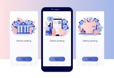 Online bankowo?? Parawanowy szablon dla mobilnego m?drze telefonu, l?duje stron?, szablon, ui, sie?, mobilny app, plakat, sztanda royalty ilustracja