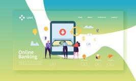 Online-bankrörelselandningsida Mobilt betalningbaner med plana folktecken som gör betalningar genom att använda den Smartphone we stock illustrationer