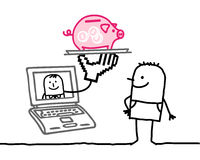 online-bankrörelseman Arkivfoton