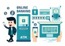 Online-bankrörelsen Infographics Royaltyfria Bilder