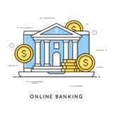 Online-bankrörelsen, internetbetalningar, pengartransaktioner Plan linje vektor illustrationer